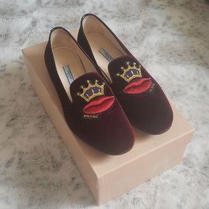 Prada Burgundy Velvet Lip and Crown Loafers